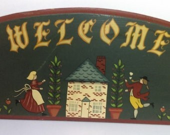 Vintage Handmade and Hand Painted Wooden Home Entry Welcome Sign Country Cottage