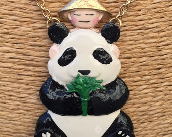 Colorful panda necklace