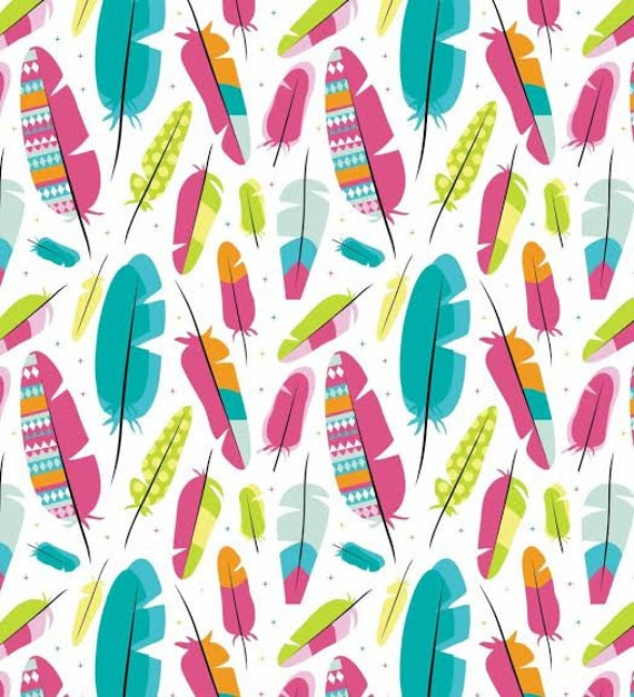 Items similar to 100 cotton fabric colorful pink mint for Bird nursery fabric