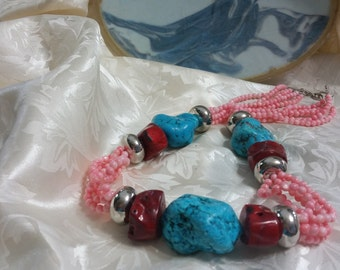 Chunk Turquoise & Coral Necklace