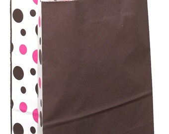 """Pack 10 handled paper bags Neapolitan dots + 20 sheets of matching tissue,10""""x5""""x13"""",Gift bag and tissue paper,small paper gift bag"""