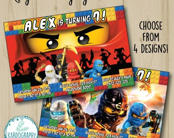 Lego Ninjago Invitation. Choose from 4 Designs and 2 Size Options! Digital File/Printable.