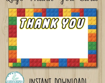 Lego Thank You Card. Blank Design available for Instant Download! Digital File/Printable.