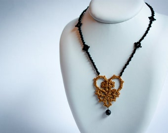 Gold and black tatted lace heart pendant necklace