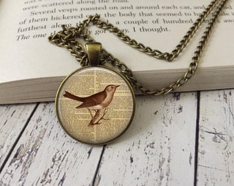 Vintage Bird Pendant, Vintage Effect Necklace, Jewellery
