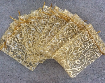 10 pc gold swirl print 3x4 organza gift bags jewelry pouches bulk wedding party bridal shower baby shower