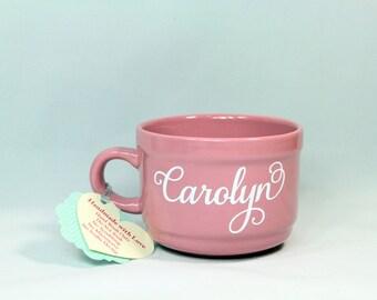 Personalized Coffee Mug Soup Mug Choose Color Name with Heart