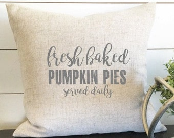 Pumpkin Pies Pillow Cover, 18 x 18 Pillow, fall pillow, fall decor, pumpkin pillow, fall throw pillow, gift, fall gift, Linen Pillow Cover
