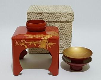 Japanese Traditional Wedding Urushi Shikki 漆器 Lacquerware  Tosoki Sake Set, CecysAsianShop