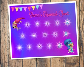 Shimmer and Shine Reward Chart Download - Digital PDF Files -- or Minnie, Mickey Mouse, Frozen, Paw Patrol, Inside Out, and more!
