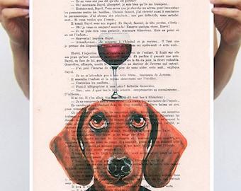 Daschund print, Daschund Artwork, print from original painting by Coco de Paris: Daschund with wineglass