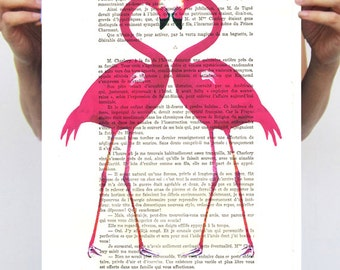 Pink Flamingo vintage wall art - Dictionary Book Print - Altered art on upcycled book pages