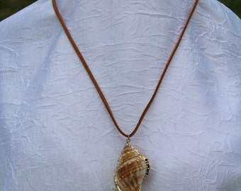 Suede necklace with a shell pendant