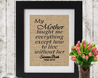 In Memory of Mom - My mother taught me everything - In Memory of Mother - Personalized Memorial Print - Loss of a Mom -  Sympathy Gift