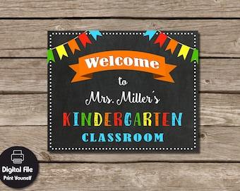 Personalized Teacher Gift - Kindergarten Classroom Welcome Sign, Printable Teacher Wall Art, Classroom Decor, Kindergarten Poster