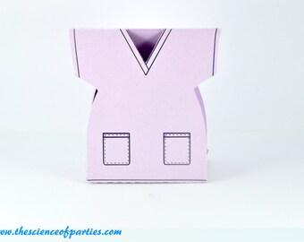 Lavender hospital scrub favor box; Surgical scrub, nurse party, doctor party, medical party