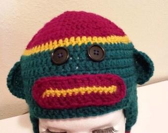 Childs crochet sock monkey hat