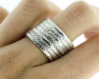 25% OFF Silver Layered Ring - 925 Sterling Silver Stacked Ring