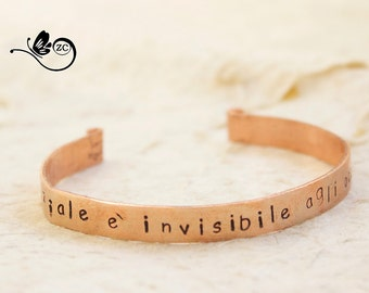 "Personalized Bracelet-""the essential is invisible to the eye""-aluminum/bangle/little Prince"