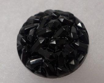 Czech glass button - black - 27 mm