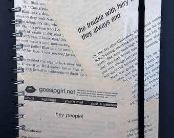 Hand Crafted A5 Spiral Hardback Notebook Wrapped in Pages Out of A Second Hand Copy of Gossip Girl