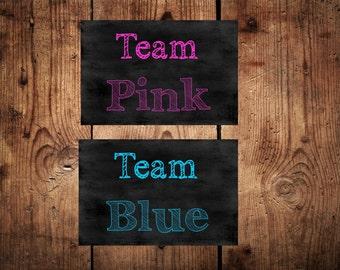 Baby reveal cards baby games  baby shower team pink team blue cards gender reveal girl or boy cards baby shower team cards