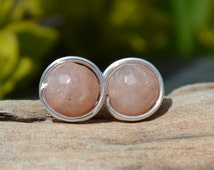 Faceted Sunstone Earrings 925 - Wire Wrapped Studs - Sterling Silver -  Abundance, Good Luck and Peace - Boho Elven Style