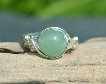 Aventurine Ring 925 - Wire Wrapped Ring - Green Stone Ring - Lucky Ring - Opportunity, Prosperity, Wealth - Boho Ring - Elven Ring - Virgo