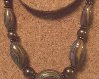 Short Necklace in Bronze Tones with Bronze Pearl