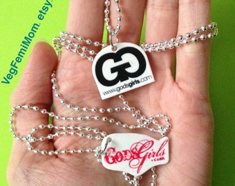 "24"" Silver Ball Chain Necklace with ""GodsGirls.com"" Shrink Plastic Charm"