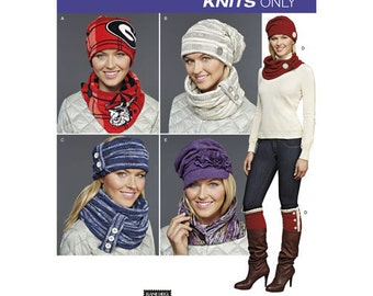 Sewing Pattern for Misses' Knit Cold Weather Accessories, Simplicity 8036, Patterns for Slouch Hats, Cowl, Neck Warmer, Boot Cuffs, Scarf
