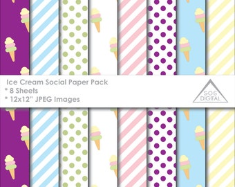 Ice Cream Social Papers, Ice cream Papers, Ice Cream Cone, multipack, printable jpeg papers, small commercial use, Digital Scrapbook Paper