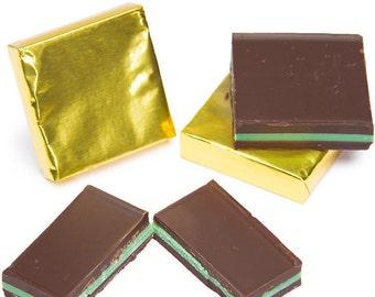Madelaine Foiled Mint Dark Chocolate Squares- 5LB Bag