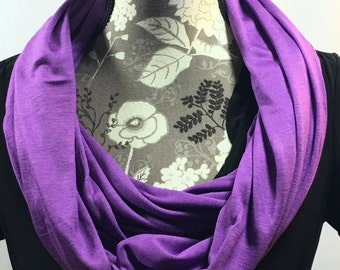 Purple Jersey Scarf, Winter Scarf, Gift for Her, Scarves for Women, Infinity Scarves, Jersey Scarf, Warm Scarf, Purple Scarf