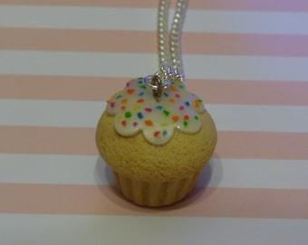 Rainbow sprinkles Cupcake Necklace
