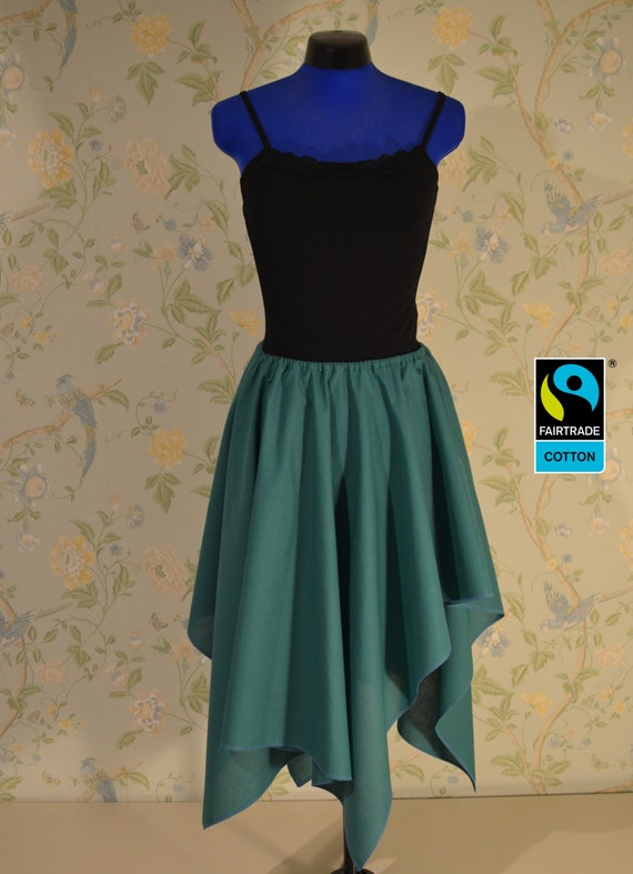 fairtrade skirt green, asymmetric with lappet; fair vegan organic