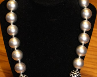 Silver and Black Chunky Beaded Necklace
