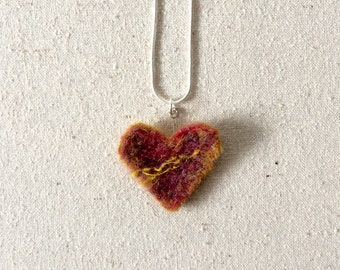 Heart necklace ~ Felted wool pendant~ Needle felted heart ~ Valentine gift ~ Red pendant