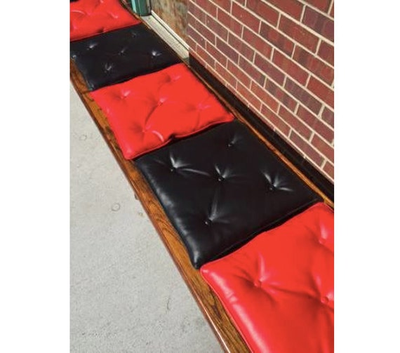 Mid-Century Red and Black Vinyl Seat Cushions