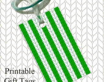 Green Stripe Knitted Gift Tags / Printable Christmas Gift Tags /  Knitter Scrapbook Tags / Downloadable Gift Tags