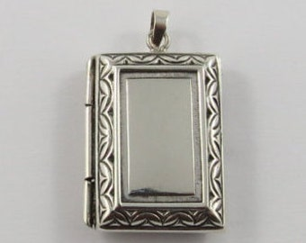 Sterling Silver Rectangular Shaped Locket Pendant
