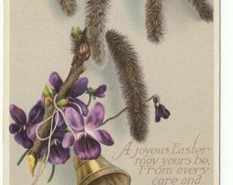 Vintage Easter Postcard: Catkins, Bell and Violets