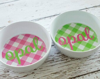 Personalized Preppy Gingham Pet or Child Bowl [Pink + Green]