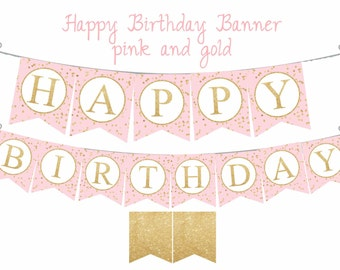 """Pink and Gold """"Happy Birthday"""" banner, Pink and Gold birthday decorations, printable banner, Digital file."""