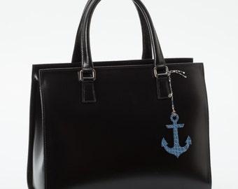 ANCRE, bag charm, Alligator skin,bag accessory,plage,summer,bijoux de sac,gift for her,luxury, men accessories,for him,blue,g