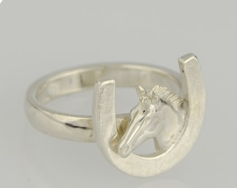 Ring • Horsehead & Horseshoe • 3D • sterling silver