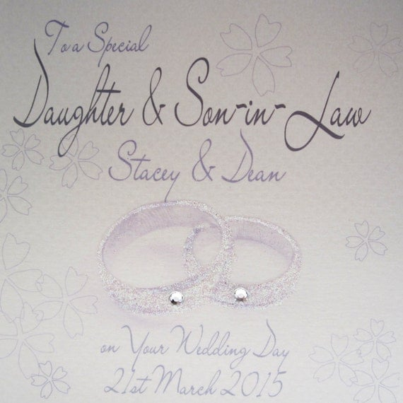 Personalised Wedding Large Card Daughter Amp Son In Law Rings