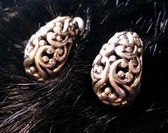 Sterling Heavy Filigree Teardrop Shape Post Earrings