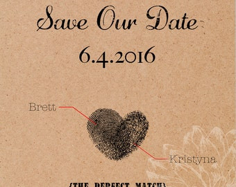 CUSTOM Fingerprint Save the Date Cards - set of 25