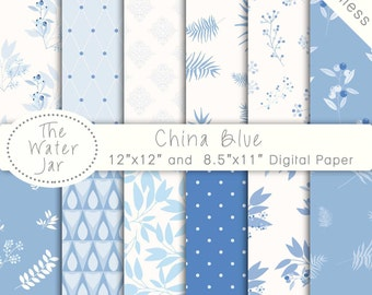 Digital Paper Pack SEAMLESS Baby Boy & China Blue Patterns, Project Life, Instant Download Commercial Use Digital Paper Pack